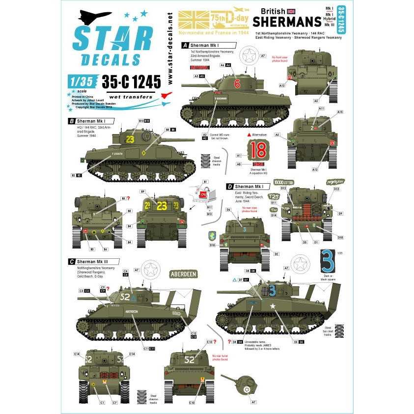 【新製品】35-C1245 WWII 英国陸軍所属のシャーマン D-ディ75周年スペシャル シャーマンMkI/Iハイブリッド/III
