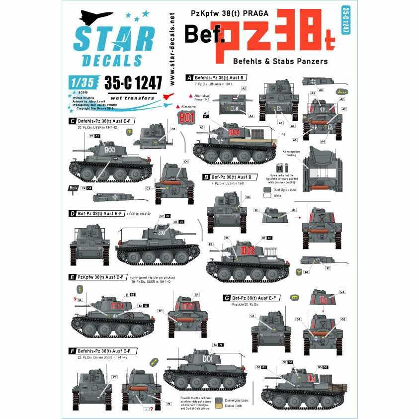 【新製品】35-C1247 WWII ドイツ陸軍PzKpfw38(t)プラガ指揮戦車 東部戦線1941~42