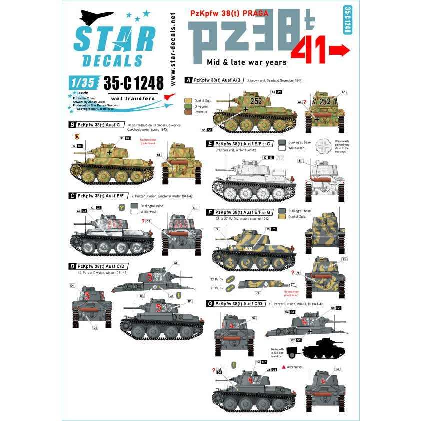 【新製品】35-C1248 WWII ドイツ陸軍PzKpfw38(t)プラガ戦車 第二次大戦中期~後期