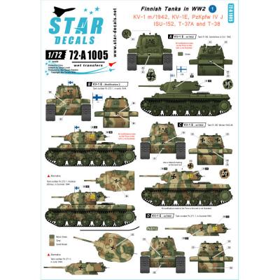 【新製品】72-A1005)WWIIのフィンランド戦車 #1 デカールセット KV-1,IV号,JSU-152,T37/T38