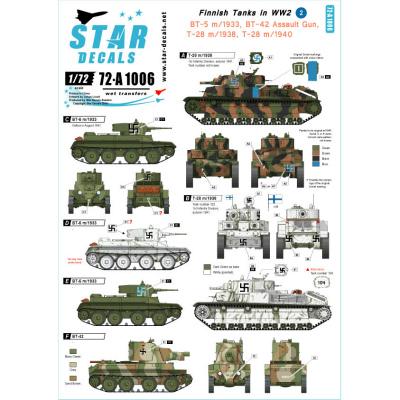 【新製品】72-A1006)WWIIのフィンランド戦車 #2 デカールセット T-28,BT-5,BT-42,JSU-152,T37/T38