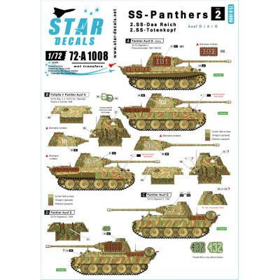 【新製品】72-A1008)WWII独 武装親衛隊のパンター #2 デカールセット 第2/第3師団