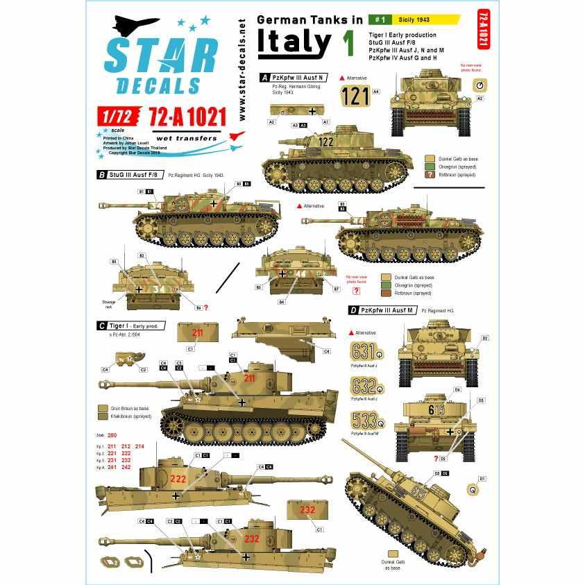【新製品】72-A1021 WWII 独 イタリア戦線のドイツ戦車#1 シチリア島編1943年 タイガーI極初期型 III号突撃F/8型 III号戦車J/N/M 型IV号G/H型