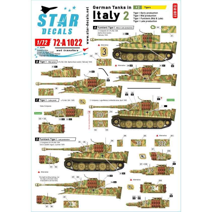 【新製品】72-A1022 WWII 独 イタリア戦線のドイツ戦車#2 タイガーI初期型 タイガーI中期型 タイガーI後期型