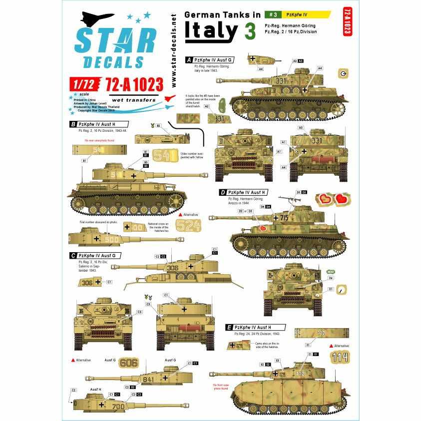 【新製品】72-A1023 WWII 独 イタリア戦線のドイツ戦車#3 IV号戦車G型とH型