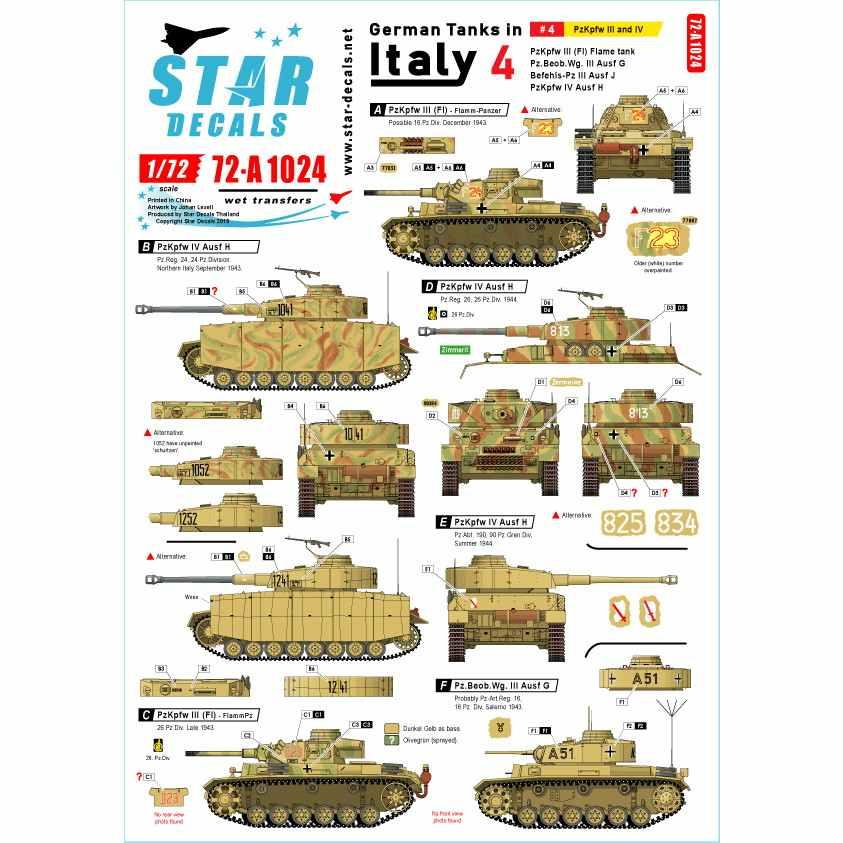 【新製品】72-A1024 WWII 独 イタリア戦線のドイツ戦車#4 III号戦車火炎放射型 III号戦車G/J型 IV号戦車H型