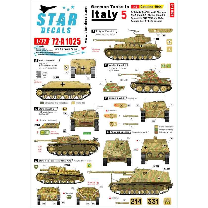 【新製品】72-A1025 WWII 独 イタリア戦線のドイツ戦車#5 カッシーノの戦い1944年