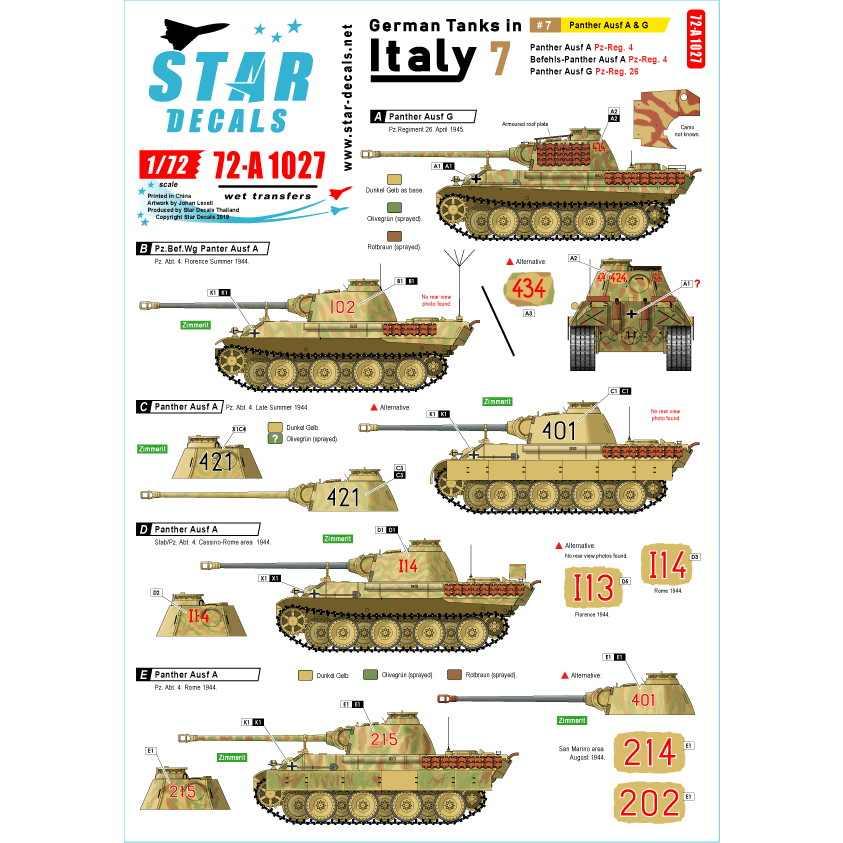【新製品】72-A1027 WWII 独 イタリア戦線のドイツ戦車#7 パンターA型及びパンターG型