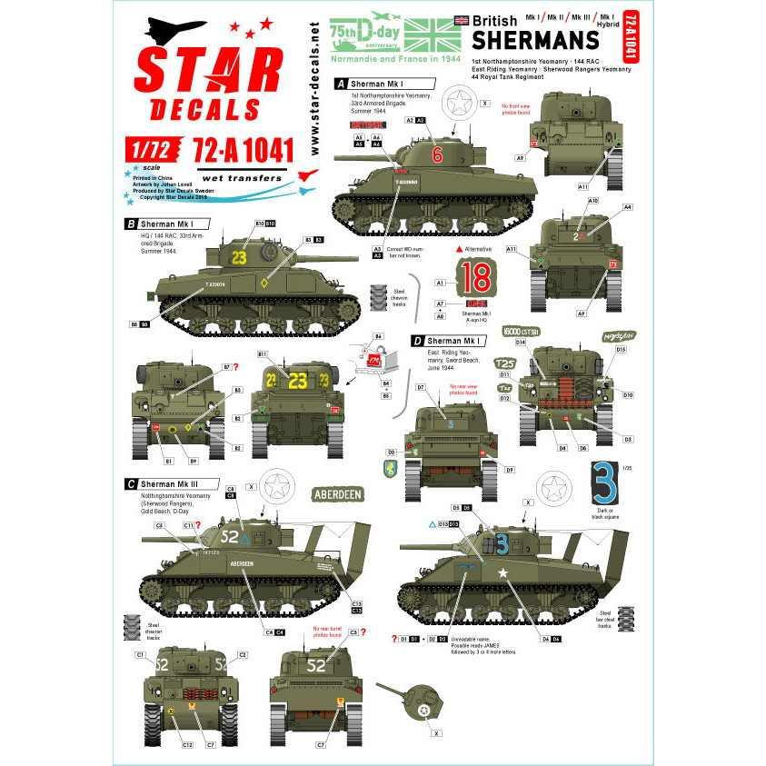 【新製品】72-A1041 WWII 英国陸軍所属のシャーマン D-ディ75周年スペシャル シャーマンMkI/II/III/Iハイブリッド