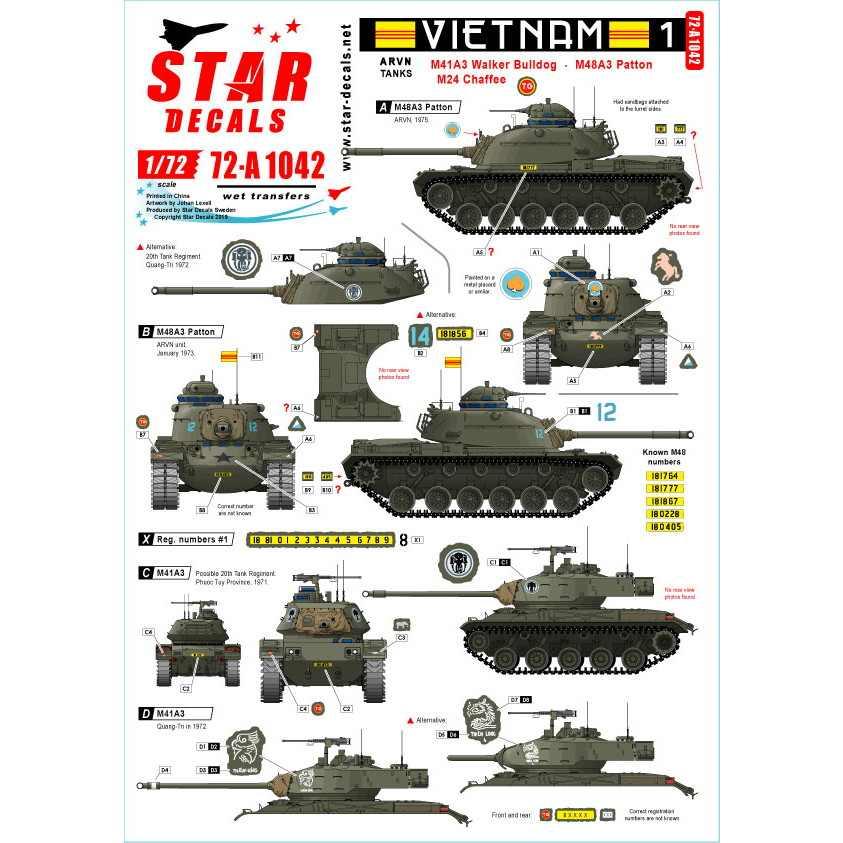 【新製品】72-A1042 ARVN#1 南ベトナム陸軍所属の米製戦車 M24/M41/M48A3