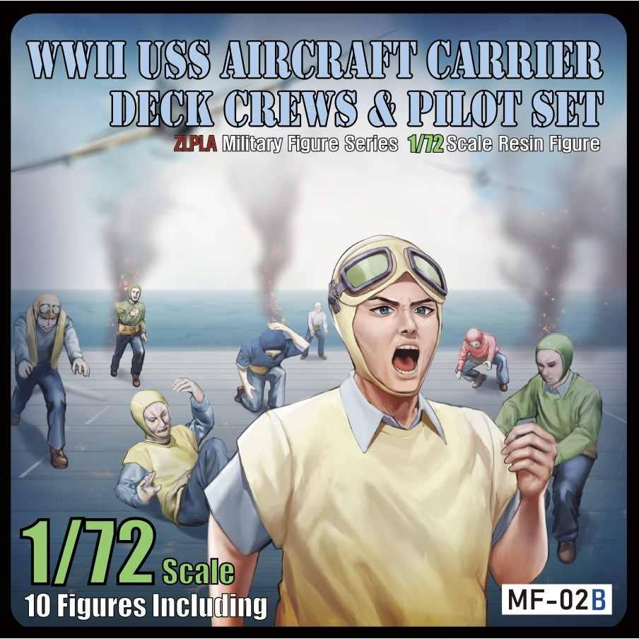 【新製品】MF-02B 1/72 WWIIアメリカ海軍航空母艦デッキクルー&パイロットセット「敵機空襲」(10体入り)