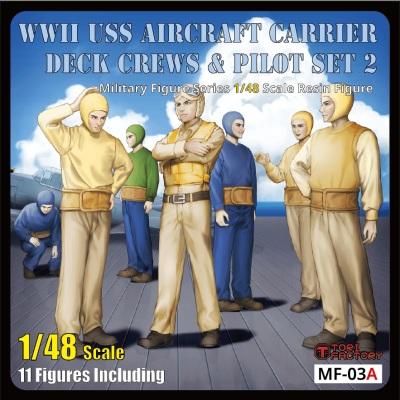 【新製品】MF-03A 1/48 WWIIアメリカ海軍航空母艦デッキクルー&パイロットセット2「整備待機」(11体入り)