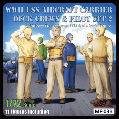 【新製品】MF-03B 1/72 WWIIアメリカ海軍航空母艦デッキクルー&パイロットセット2「整備待機」(11体入り)