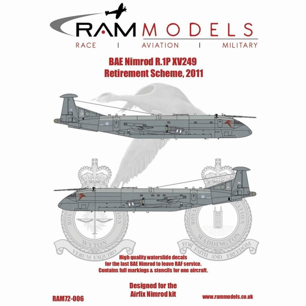【新製品】72-006 BAe ニムロッド R.1P XV249 2011年退役塗装