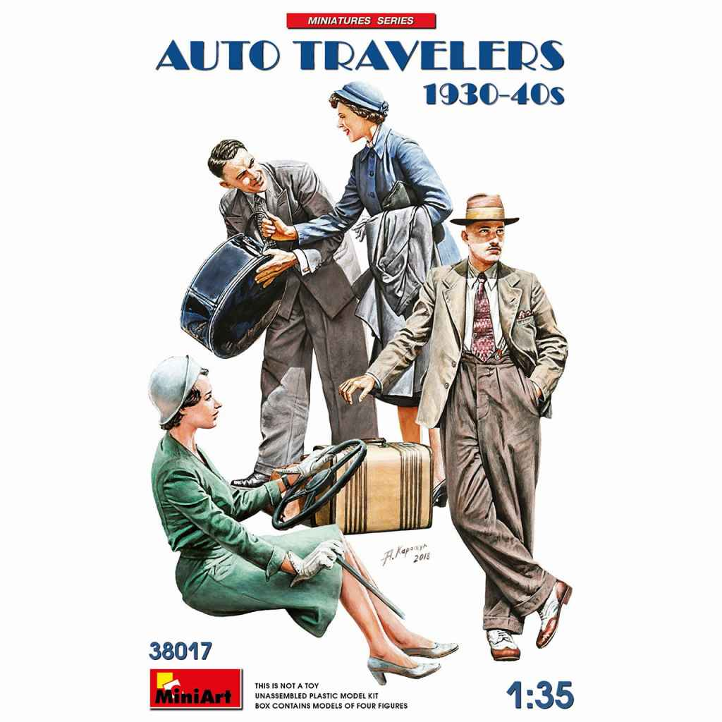【新製品】38017 自動車で旅行する民間人セット1930-40年代(4体入)