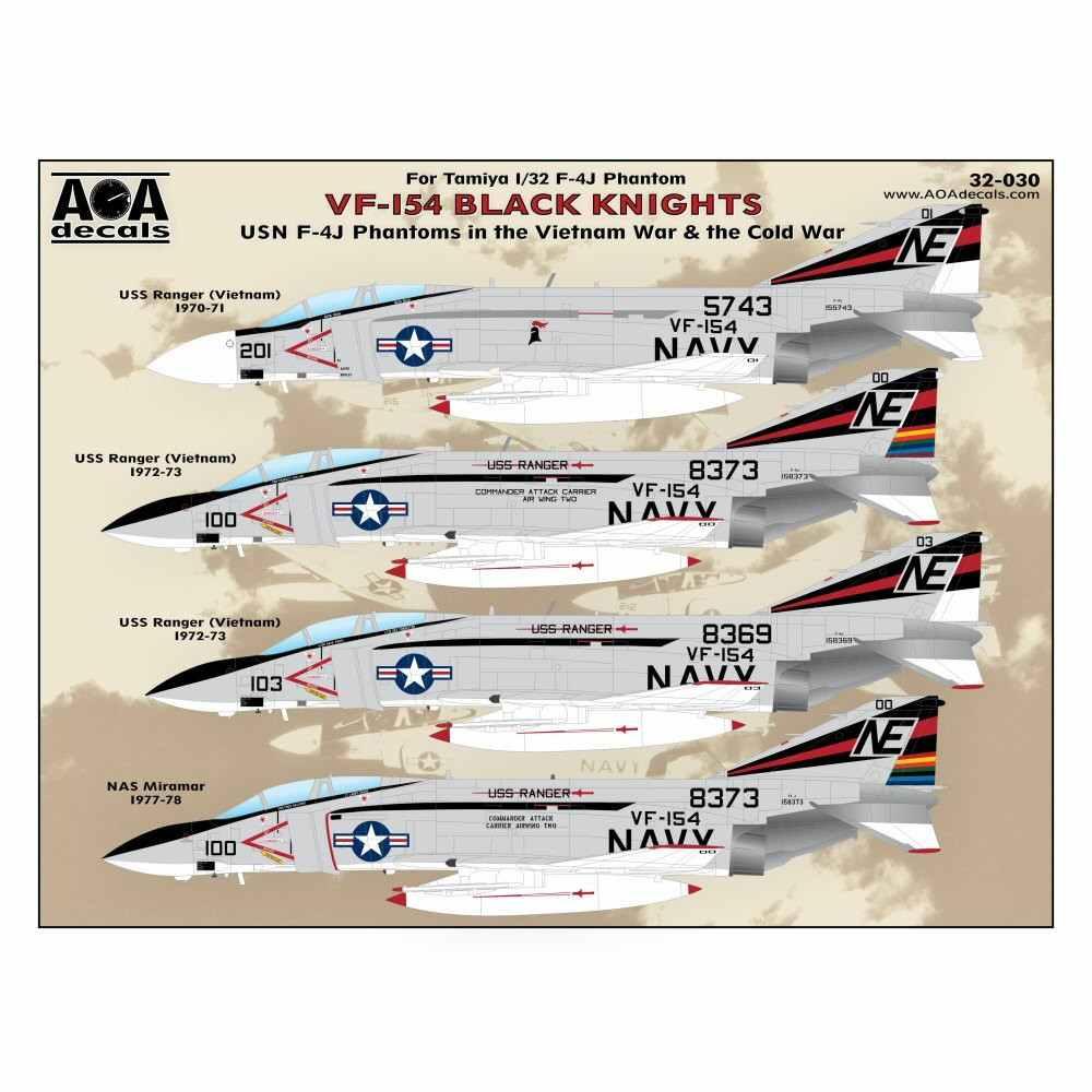 【新製品】AOAデカール 32-030 アメリカ海軍 F-4J ファントムII VF-154 ブラックナイツ ベトナム戦争&冷戦