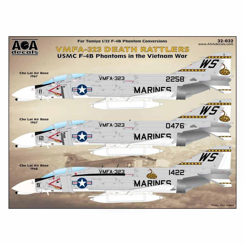 【新製品】AOAデカール 32-032 アメリカ海兵隊 F-4B ファントムII VMFA-323 デスラトルズ ベトナム戦争