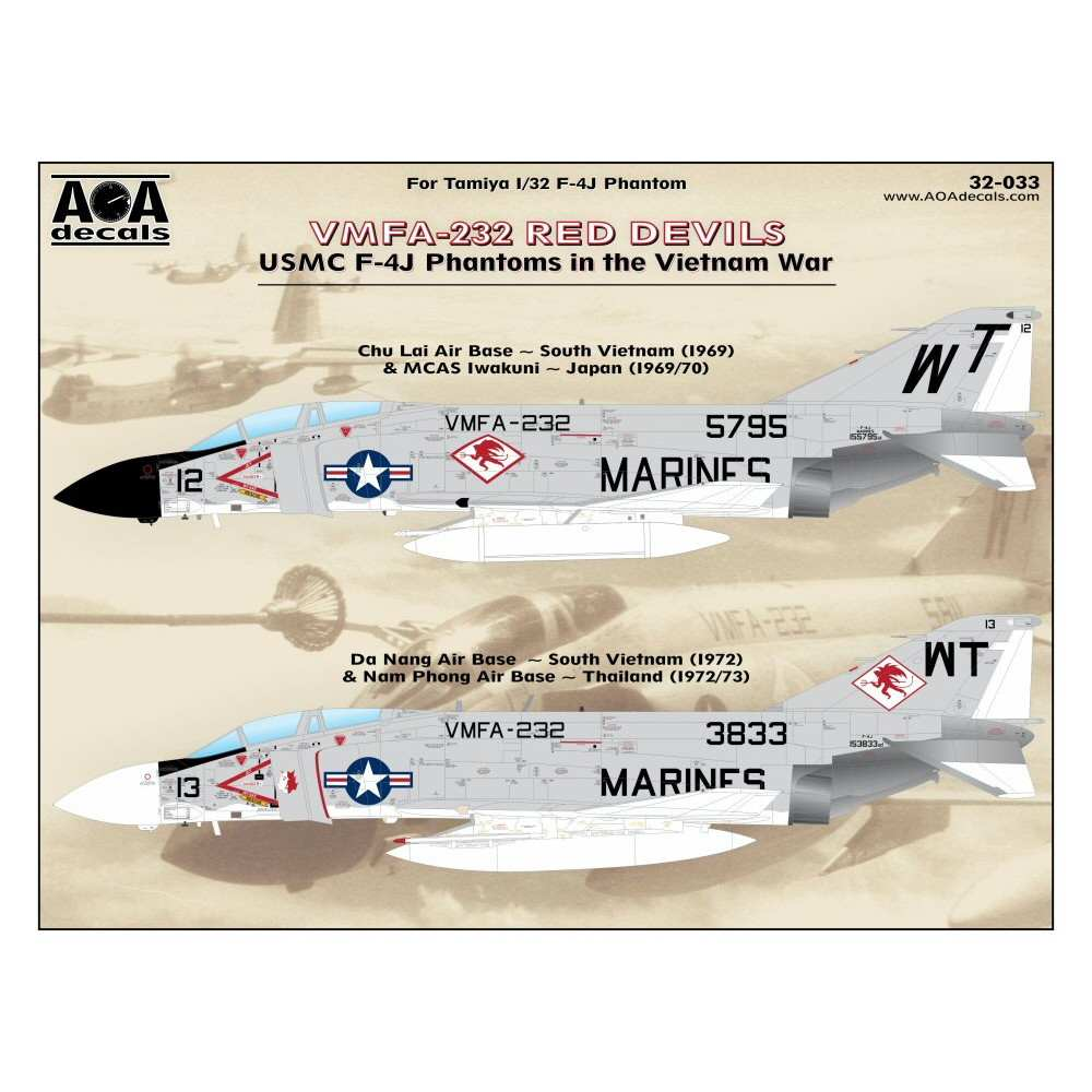 【新製品】AOAデカール 32-033 アメリカ海兵隊 F-4J ファントムII VMFA-232 レッドデビルス ベトナム戦争
