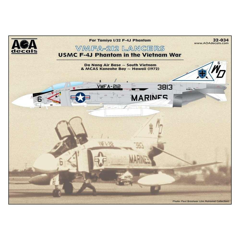【新製品】AOAデカール 32-034 アメリカ海兵隊 F-4J ファントムII VMFA-212 ランサーズ ベトナム戦争