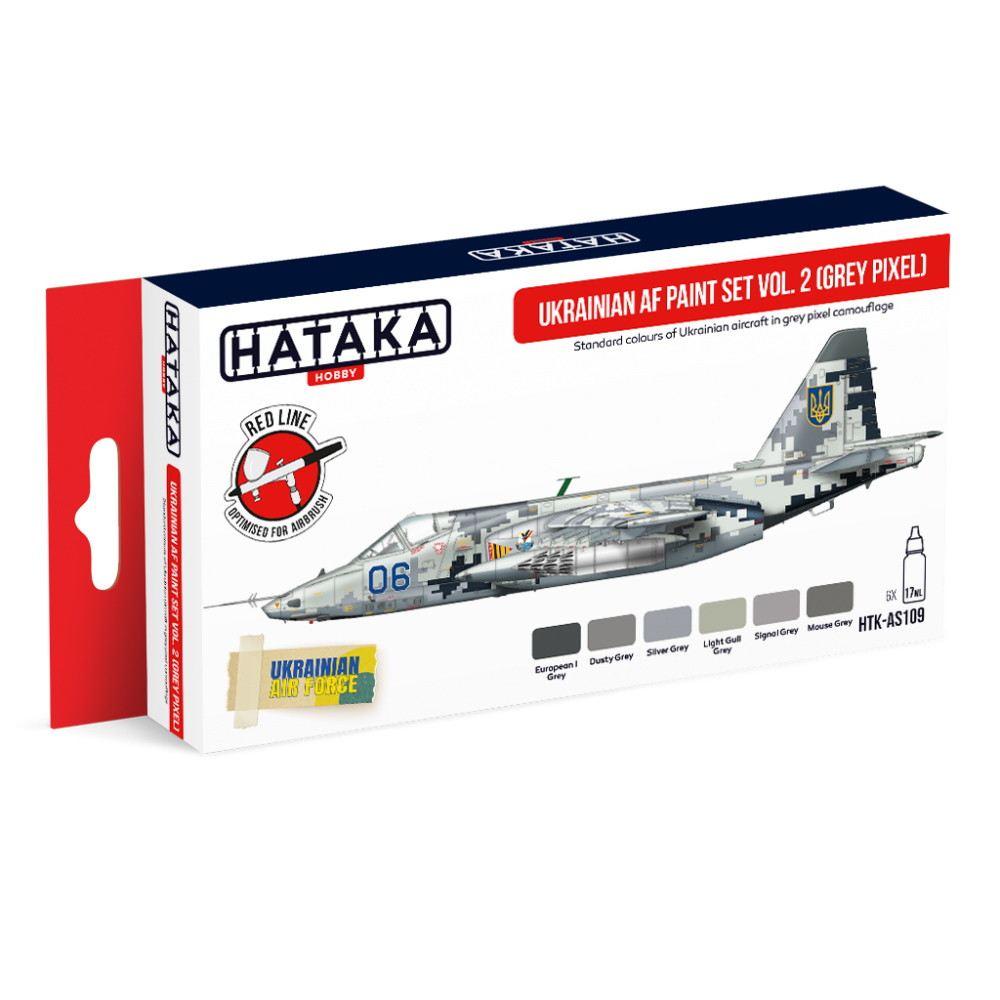 【新製品】HTK-AS109 現用 ウクライナ空軍 グレーピクセル迷彩 水性アクリルカラー6本セット