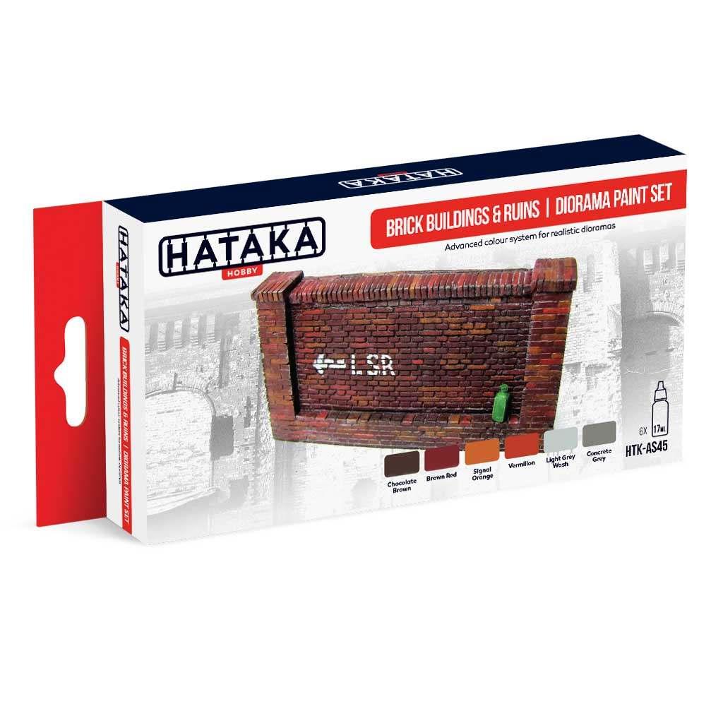 【再入荷】HTK-AS45 ブロック&廃墟 ジオラマ塗装色 水性アクリルカラー6本セット