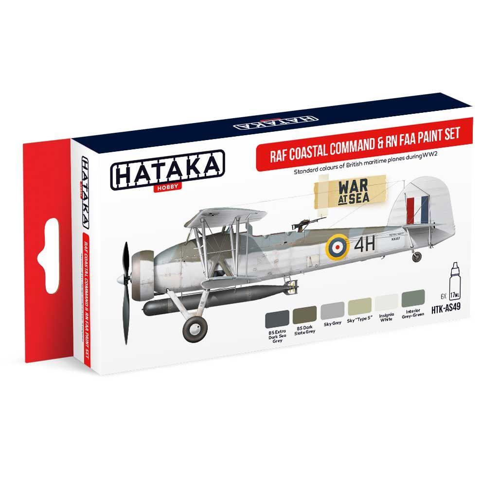 【再入荷】HTK-AS49 WWII イギリス空軍 コースタルコマンド & イギリス海軍航空隊 水性アクリルカラー6本セット