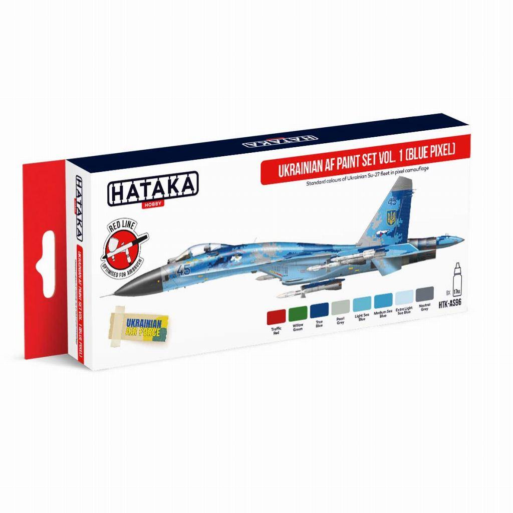 【再入荷】HTK-AS96 現用 ウクライナ空軍 ブルーピクセル迷彩 水性アクリルカラー8本セット