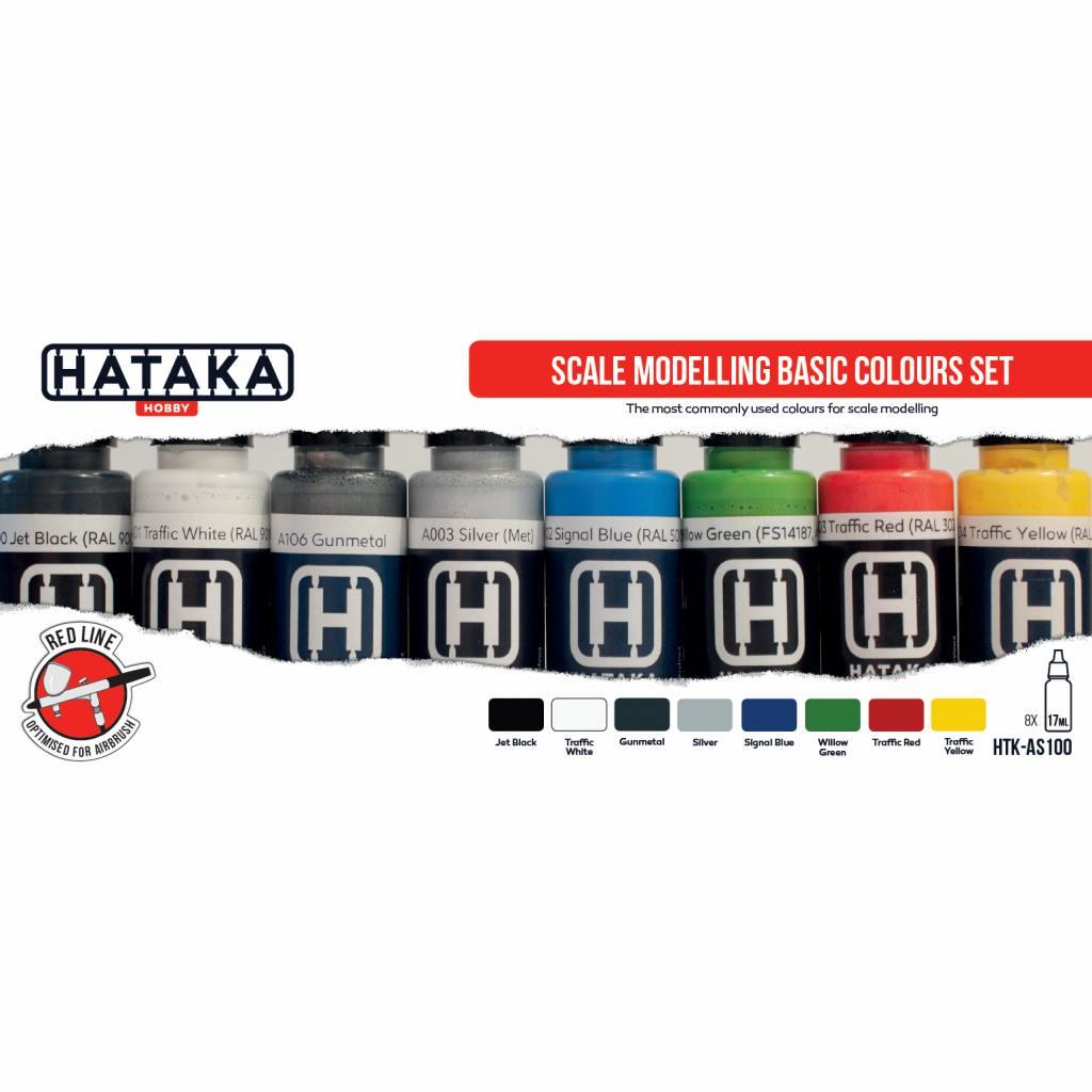 【再入荷】HTK-AS100 スケールモデリングベーシックカラー 水性アクリルカラー8本セット
