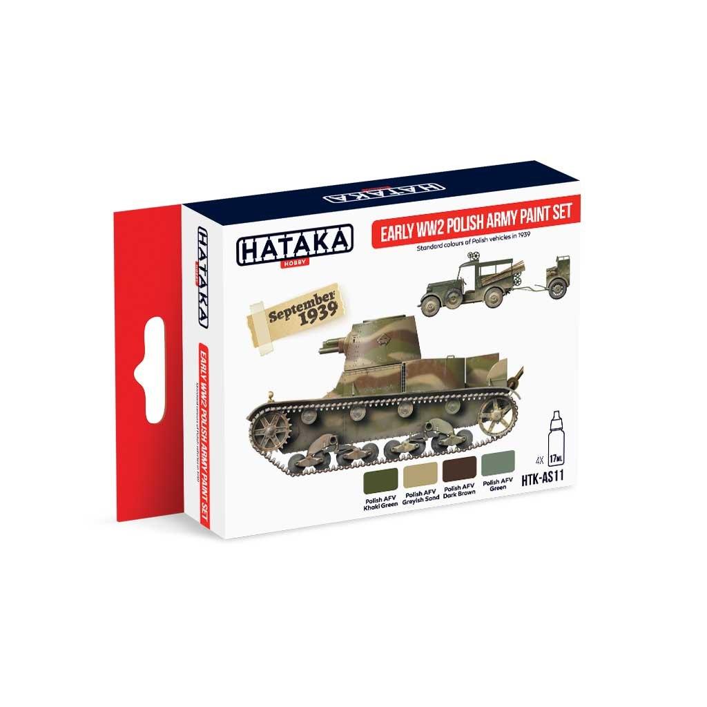 【再入荷】HTK-AS11 WWII ポーランド陸軍初期 水性アクリルカラー4本セット