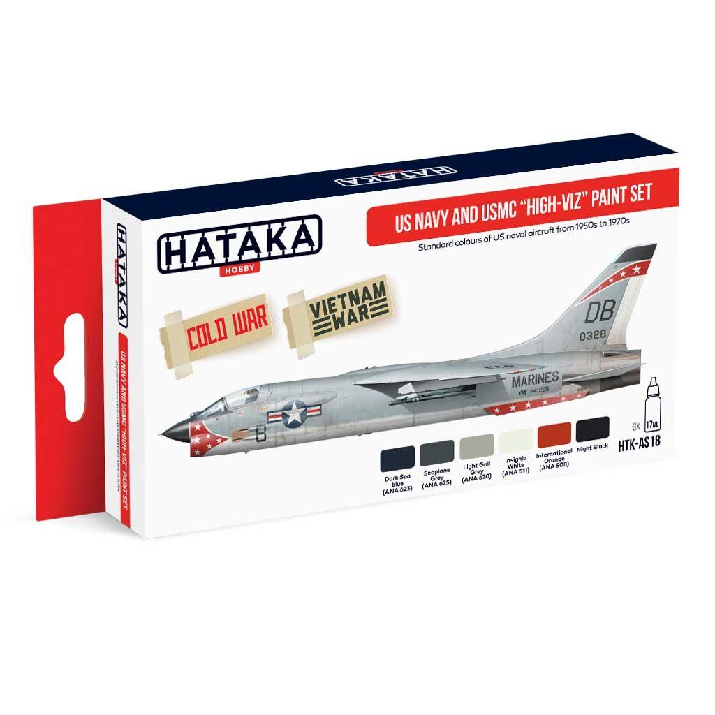【再入荷】HTK-AS18 アメリカ海軍/海兵隊 ハイビジ 水性アクリルカラー6本セット