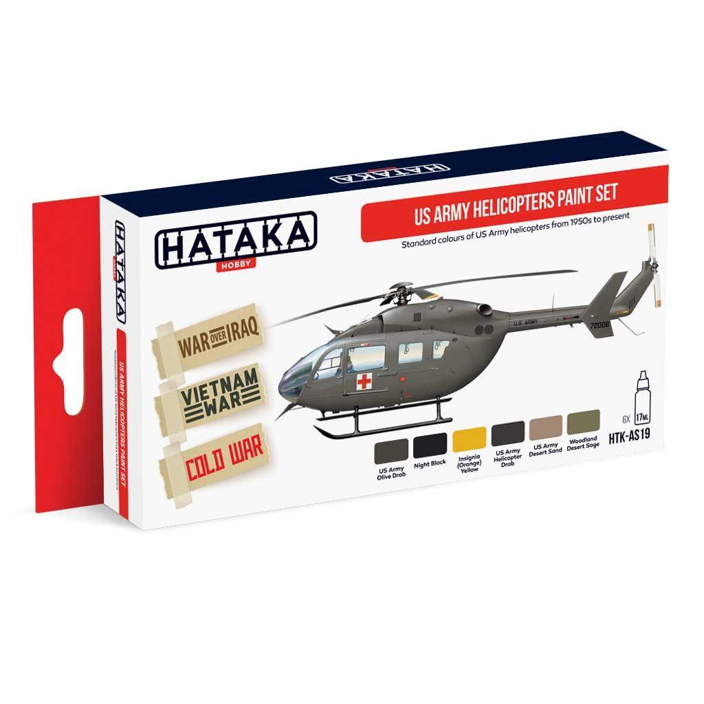 【新製品】HTK-AS19 アメリカ陸軍 ヘリコプター 1950年代以降 水性アクリルカラー6本セット