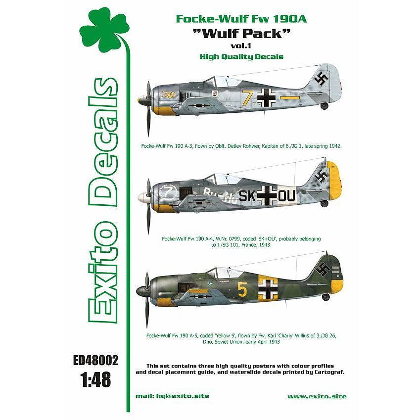 【新製品】Exito Decals 48002 フォッケウルフ Fw190A ウルフパック Vol.1