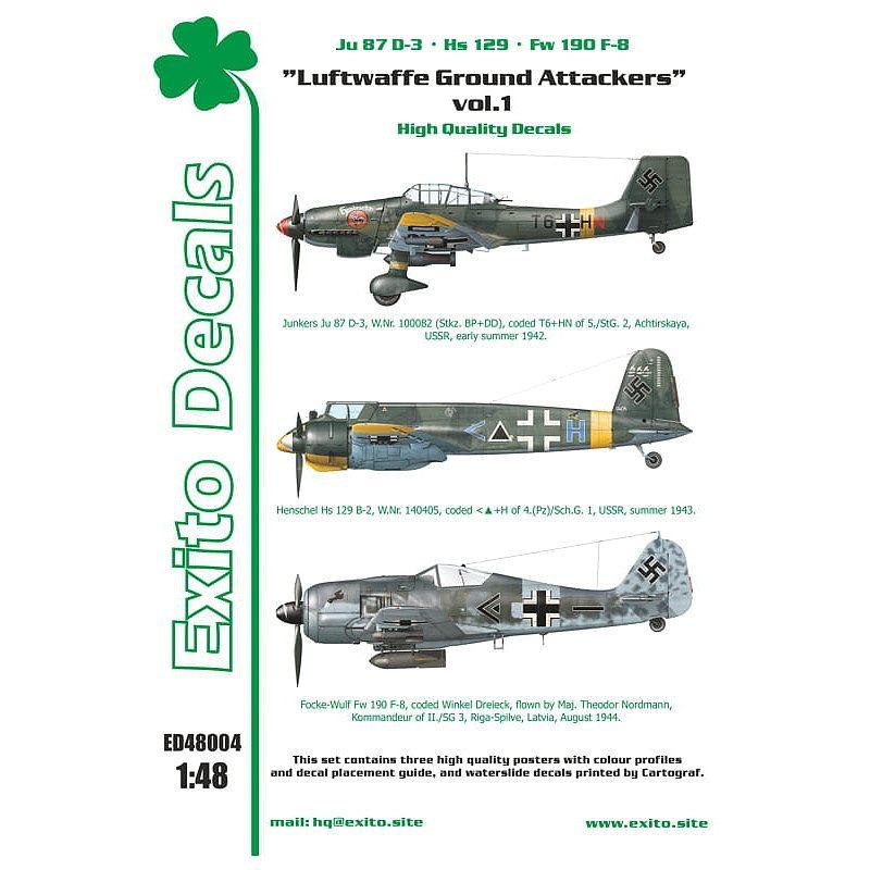 【新製品】Exito Decals 48004 Ju87D-3、Hs129、Fw190F-8 ドイツ空軍地上攻撃機 Vol.1