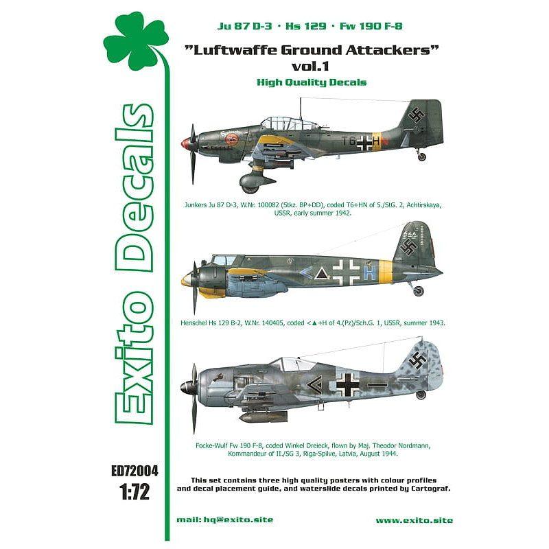 【新製品】Exito Decals 72004 Ju87D-3、Hs129、Fw190F-8 ドイツ空軍地上攻撃機 Vol.1