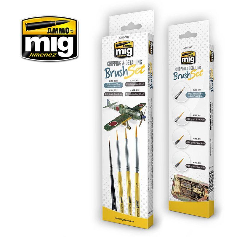 【新製品】A.MIG-7603 チッピングディティールブラシセット 筆4本セット