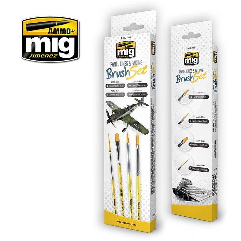 【新製品】A.MIG-7605 パネルライン&褪色表現用ブラシセット 筆4本セット