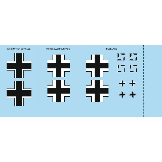 【新製品】D48043 メッサーシュミット Bf109F-2 国籍マークデカール (エデュアルド用)