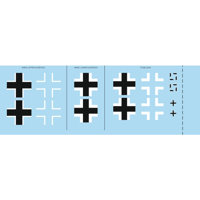 【新製品】D48044 メッサーシュミット Bf109G-2 国籍マークデカール (エデュアルド用)