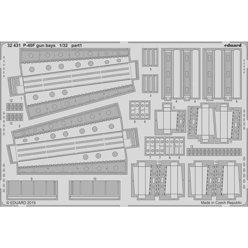 【新製品】32431 カーチス P-40F ガンベイエッチングパーツ (トランぺッター用)