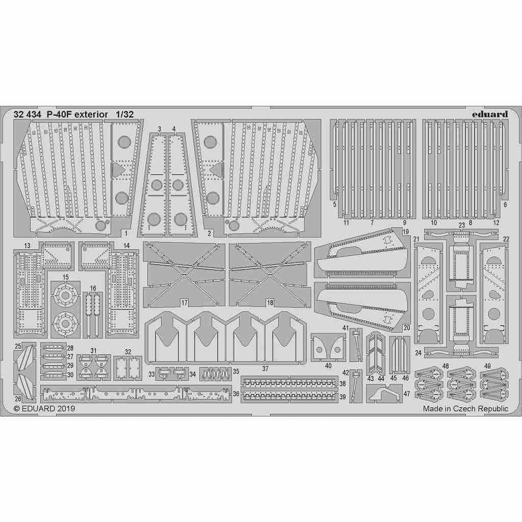 【新製品】32434 カーチス P-40F 外装エッチングパーツ (トランぺッター用)