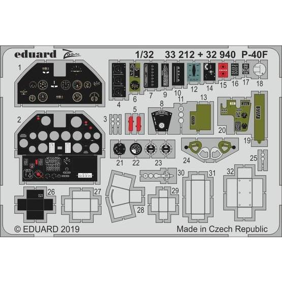 【新製品】32940 塗装済 カーチス P-40F エッチングパーツ (トランぺッター用)