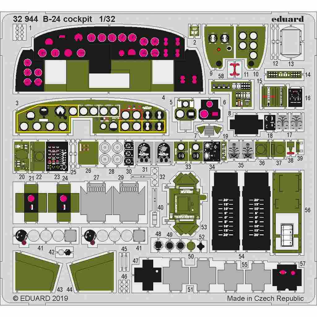 【新製品】32944 塗装済 コンソリデーテッド B-24 リベレーター コクピットエッチングパーツ (ホビーボス用)