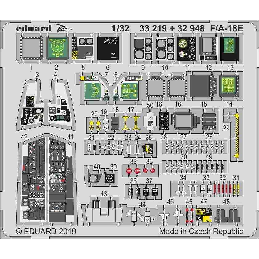 【新製品】32948 塗装済 F/A-18E スーパーホーネット 内装エッチングパーツ (レベル用)