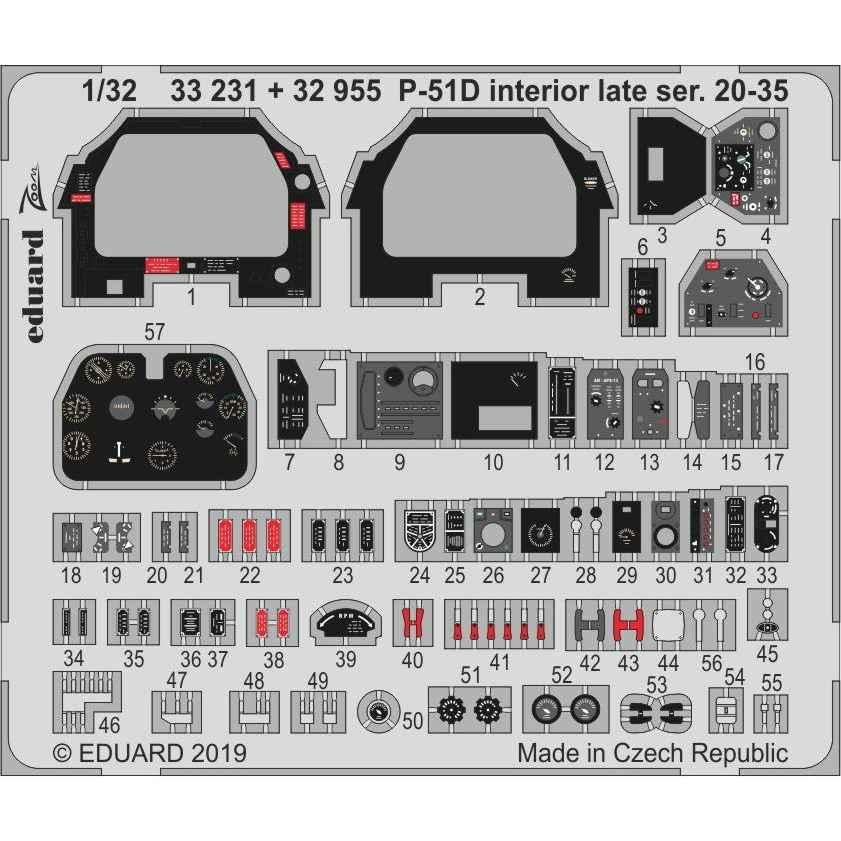 【新製品】32955 塗装済 ノースアメリカン P-51D マスタング 後期型 (ブロック20-35) 内装エッチングパーツ(タミヤ用)