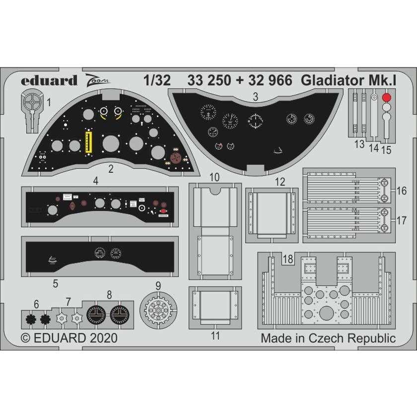 【新製品】32966 塗装済 グロスター グラディエーター Mk.I エッチングパーツ (ICM用)
