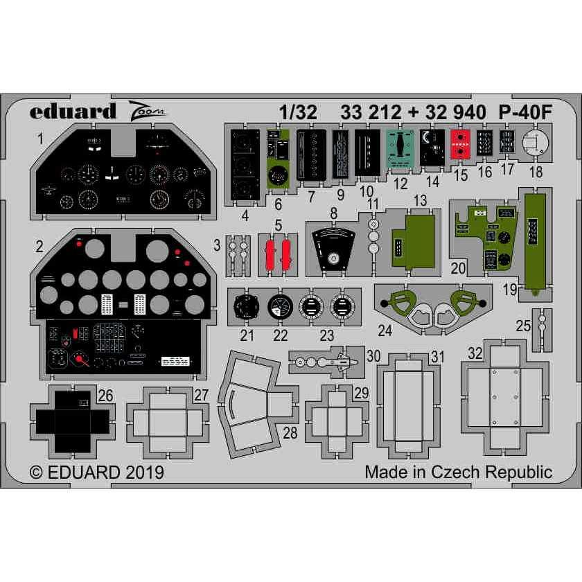 【新製品】33212 塗装済 カーチス P-40F ズームエッチングパーツ (トランぺッター用)