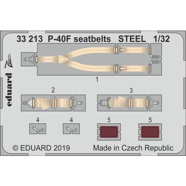 【新製品】33213 塗装済 カーチス P-40F シートベルト (ステンレス製) (トランぺッター用)