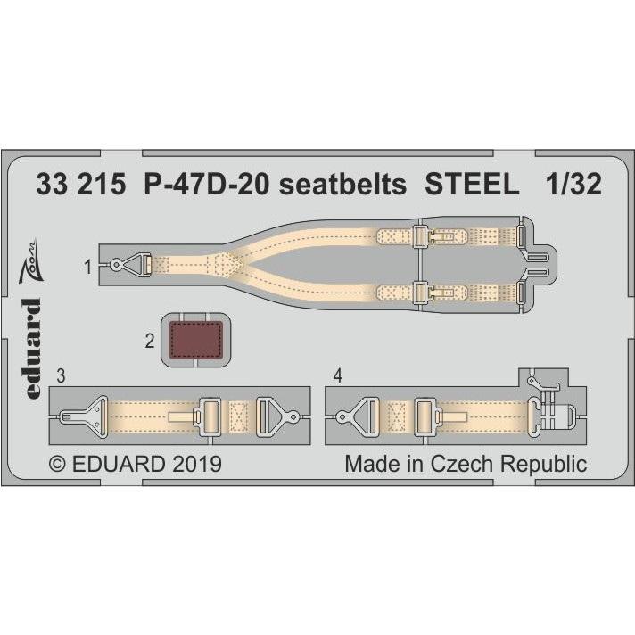 【新製品】33215 塗装済 リパブリック P-47D-20 シートベルト (ステンレス製) (トランぺッター用)