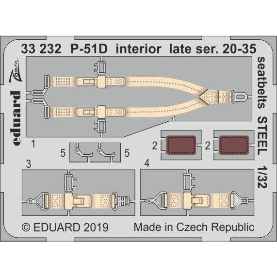 【新製品】33232 塗装済 ノースアメリカン P-51D マスタング 後期型 (ブロック20-35) シートベルト(ステンレス製) (タミヤ用)