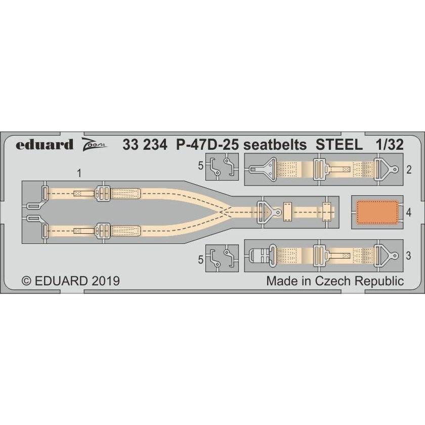 【新製品】33234 塗装済 リパブリック P-47D-25 サンダーボルト シートベルト (ステンレス製) (ハセガワ用)